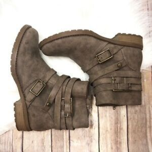 Taupe Brown Zip Buckle Ankle Fashion Boots